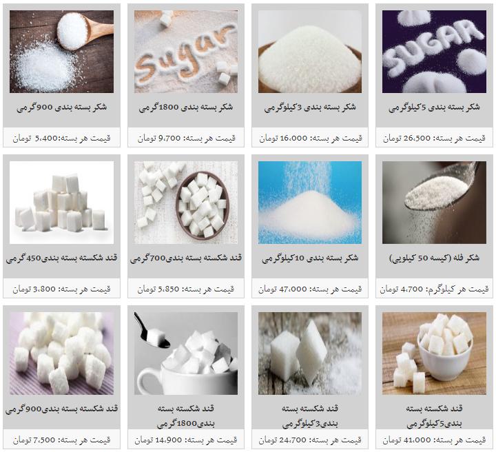 نرخ مصوب  قندو شکر در میادین میوه و تره بار