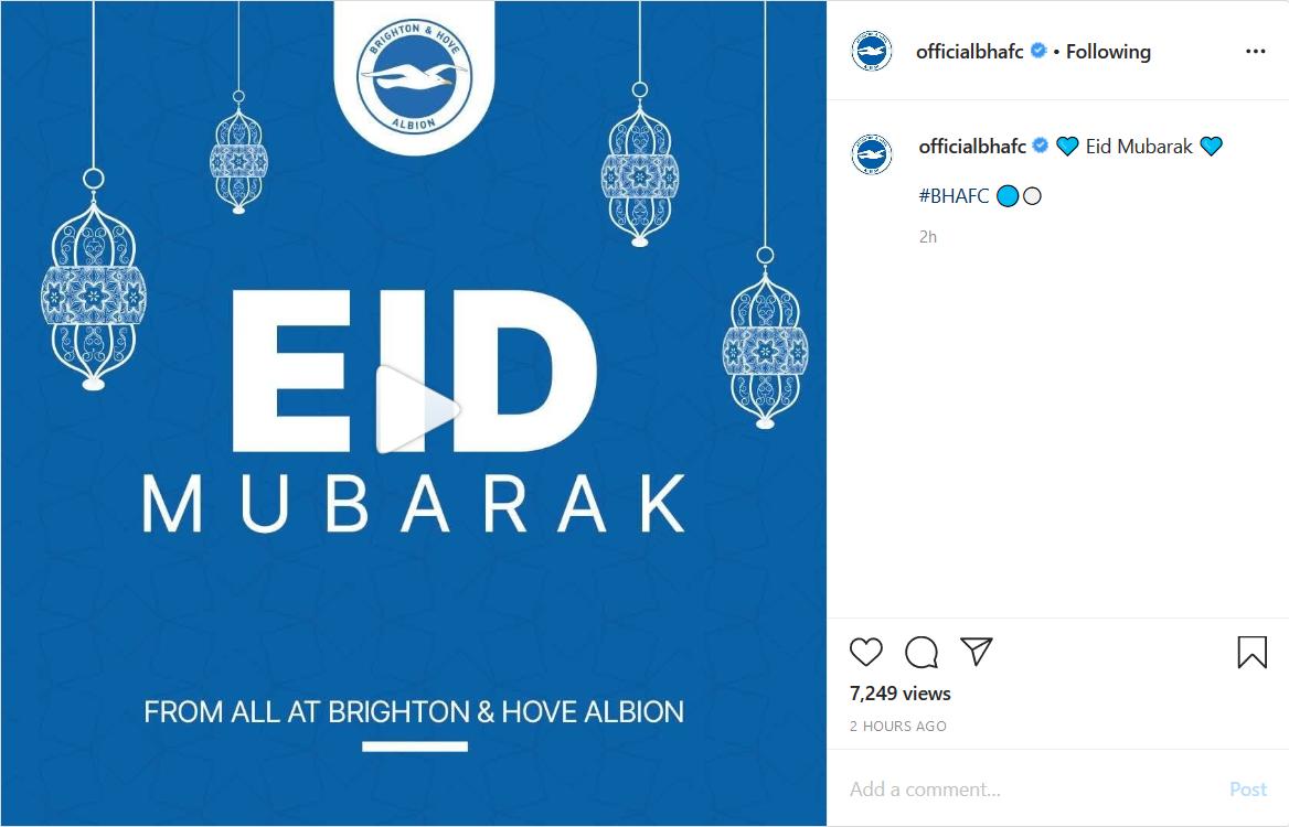 تبریک عید فطر به سبک بازیکنان تیم برایتون