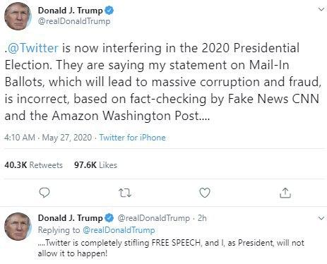 توییتر پیام ترامپ را گمراه کننده توصیف کرد