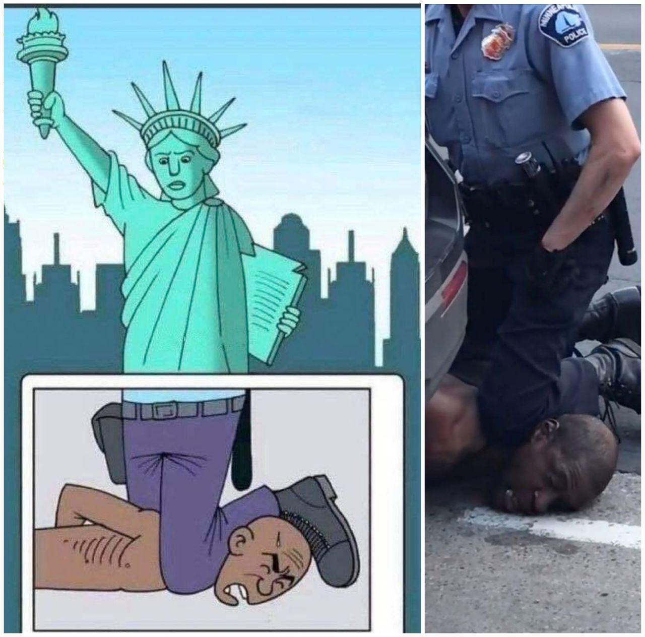 فوران خشم مردم از رفتار بی رحمانه پلیس آمریکا / معترضان پرچم آمریکا را به آتش کشیدند + فیلم و تصاویر