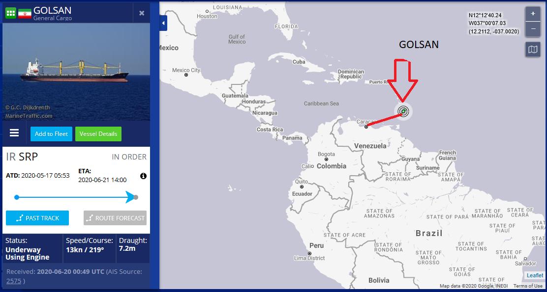ششمین نفتکش ایرانی با نام «گلسان» در نزدیکی جزیره باربادوس