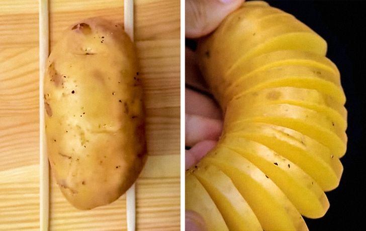 چند ترفند آشپزی جالب؛ از برش سیب زمینی تا پخت مرغ در هندوانه