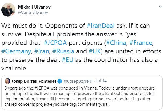 اولیانوف: ایران و اعضای برجام باید بر حفظ توافق هستهای تلاش کنند ///