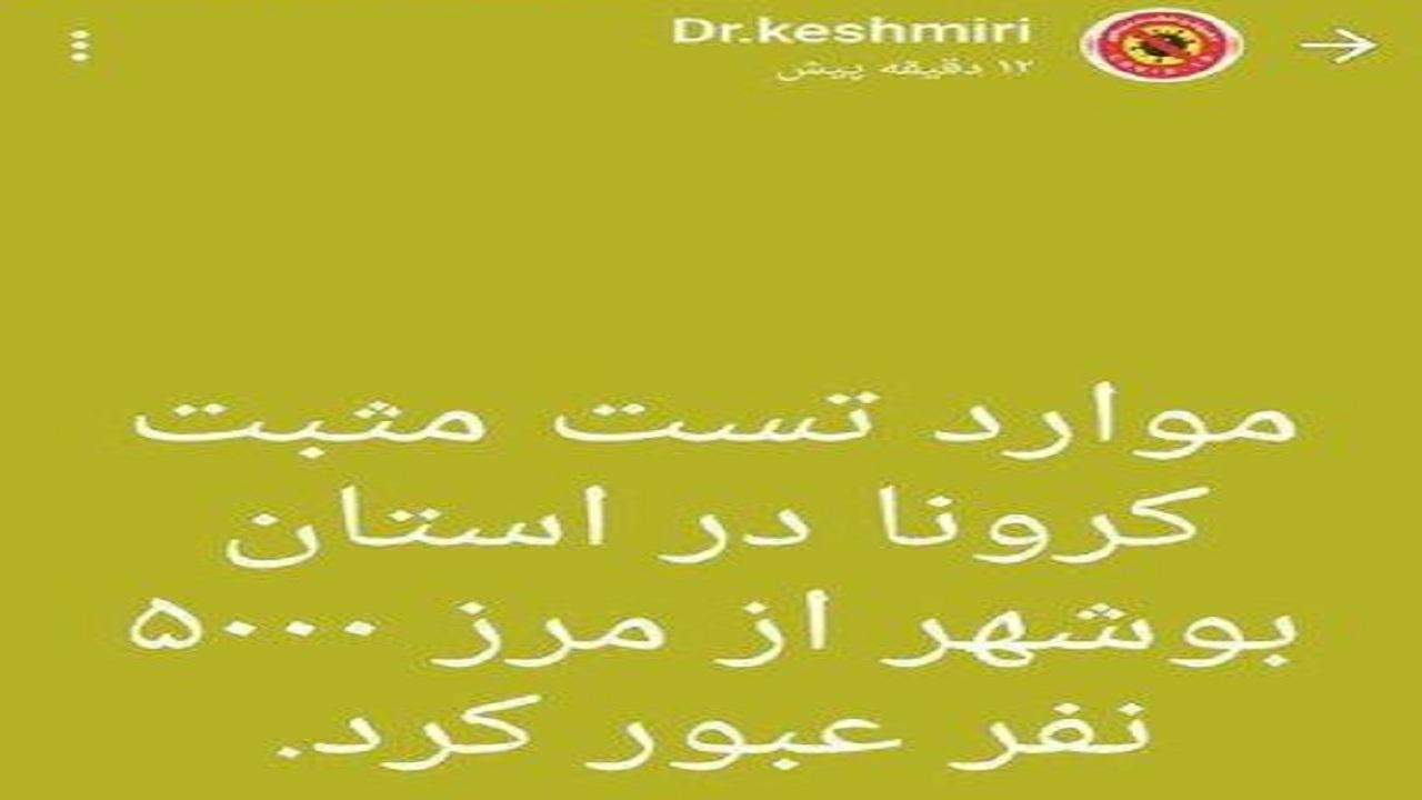 تعداد مبتلایان کرونا در بوشهر
