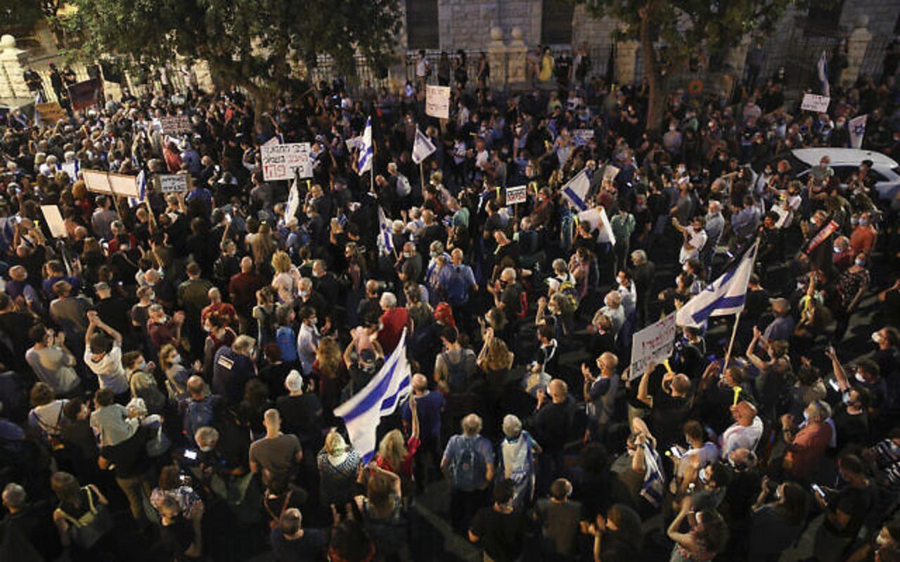 تظاهرات گسترده صهیونیستها علیه فساد بنیامین نتانیاهو