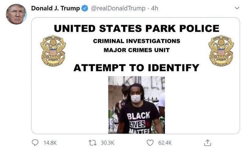 ترامپ خواستار کمک مردم برای شناسایی معترضان شد
