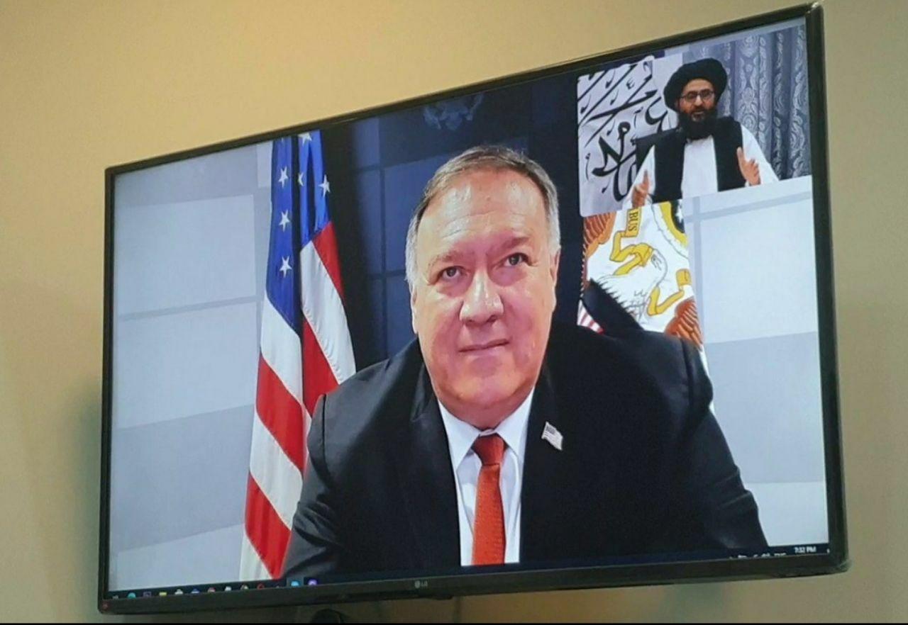 گفتوگوی ویدئویی پمپئو و معاون سیاسی طالبان