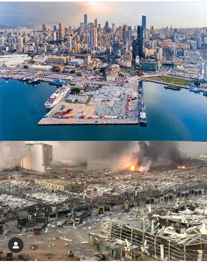 تصویر بندر بیروت قبل و بعد از انتشار