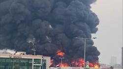 آتش سوزی بزرگ در بازار شهر عجمان در امارات + فیلم و تصاویر