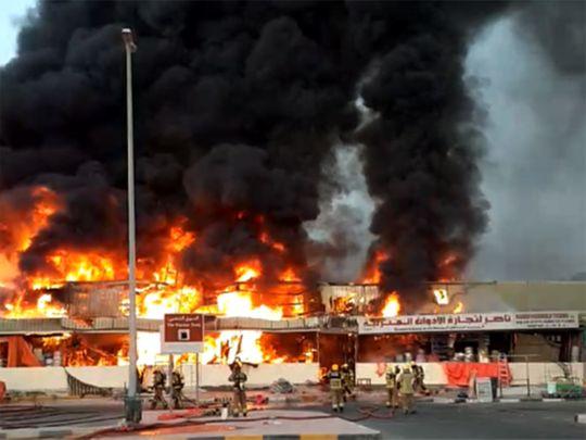 آتشسوزی در بازار مرکبات در عجمان امارات