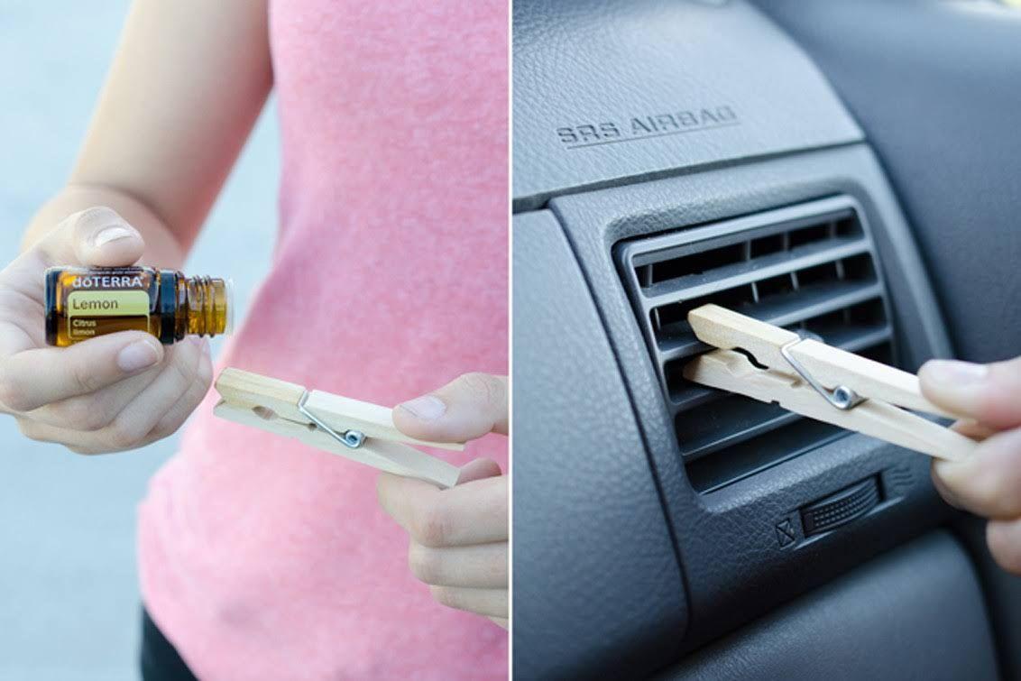 یک ترفند ساده برای خوشبو کردن داخل ماشین با استفاده از گیره لباس