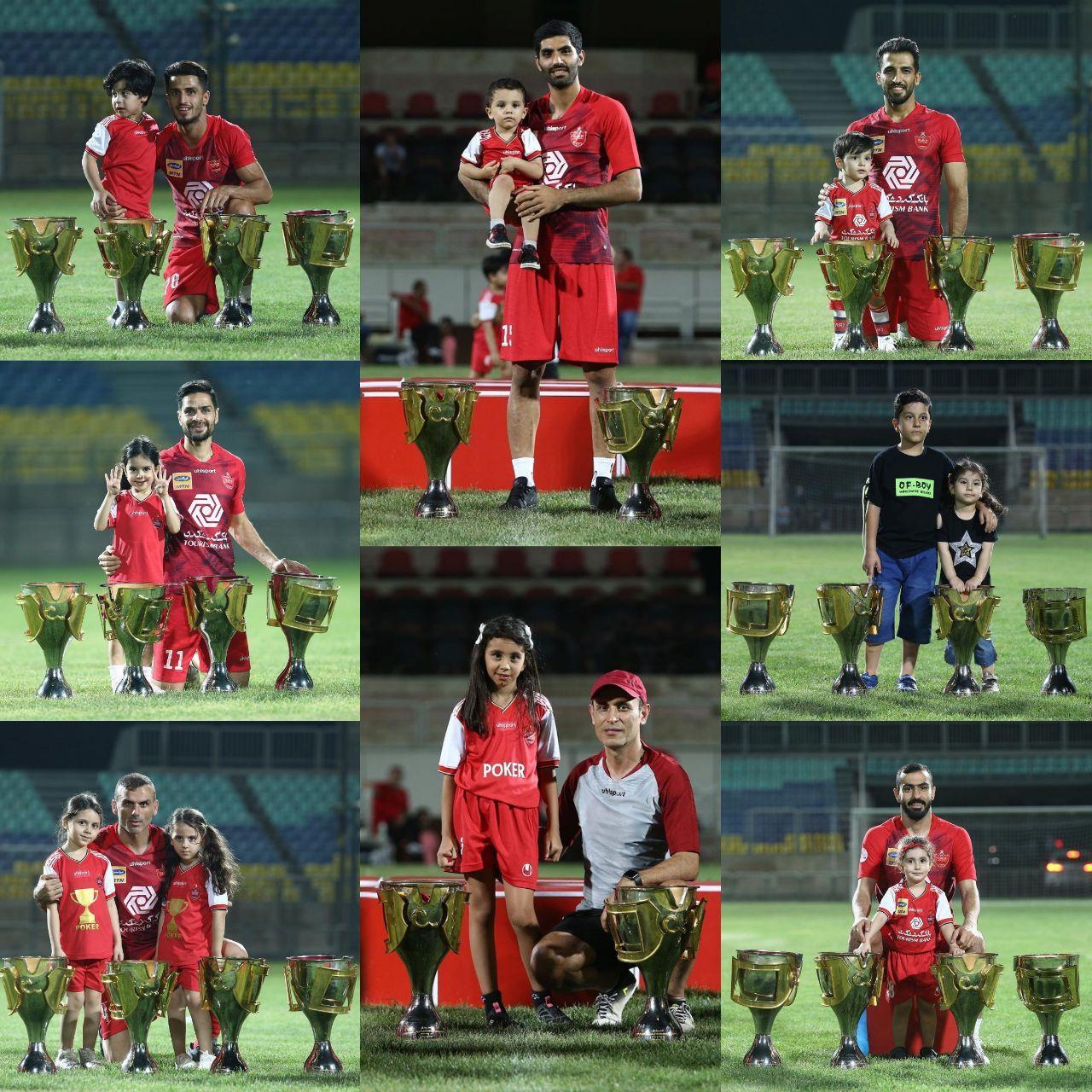 عکس یادگاری بازیکنان پرسپولیس همراه فرزندانشان در کنار چهار جام قهرمانی