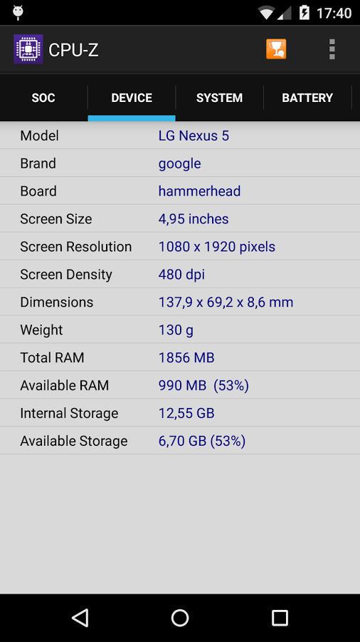 دانلود CPU-Z Premium 1.36 – شناسایی سخت افزار گوشی های اندروید