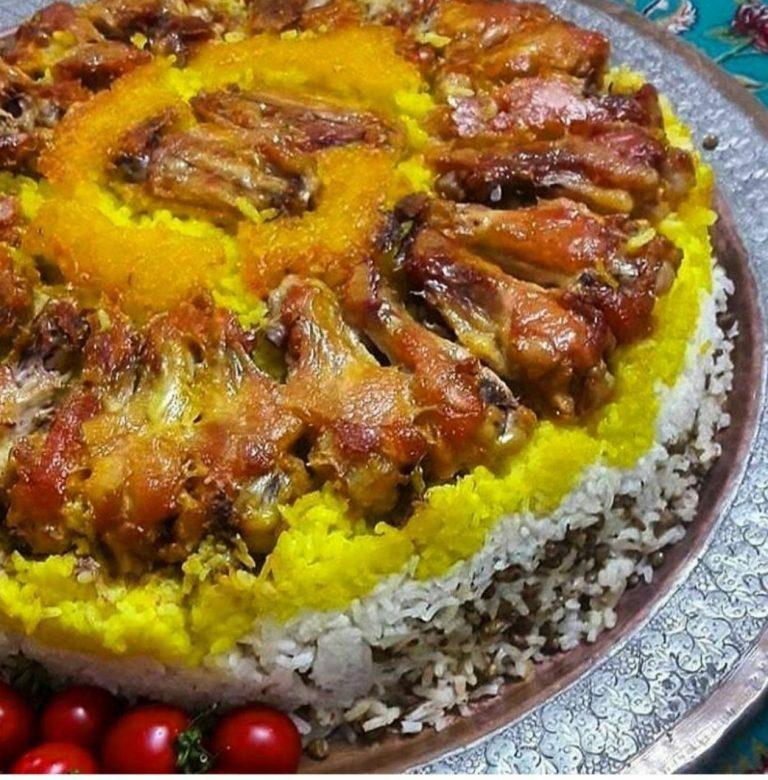 ته انداز مرغ زعفرانی مجلسی با زرشک پلو، سبزی یا عدس پلو بدون پلوپز + طرز تهیه