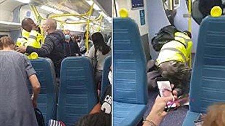 درگیری فیزیکی شدید دو مسافر بخاطر ماسک نزدن!