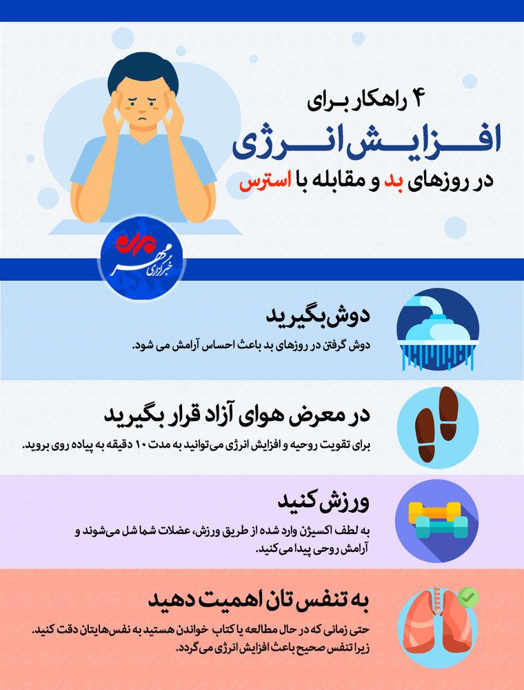 ۴ راهکار برای افزایش انرژی در روزهای بد و مقابله با استرس