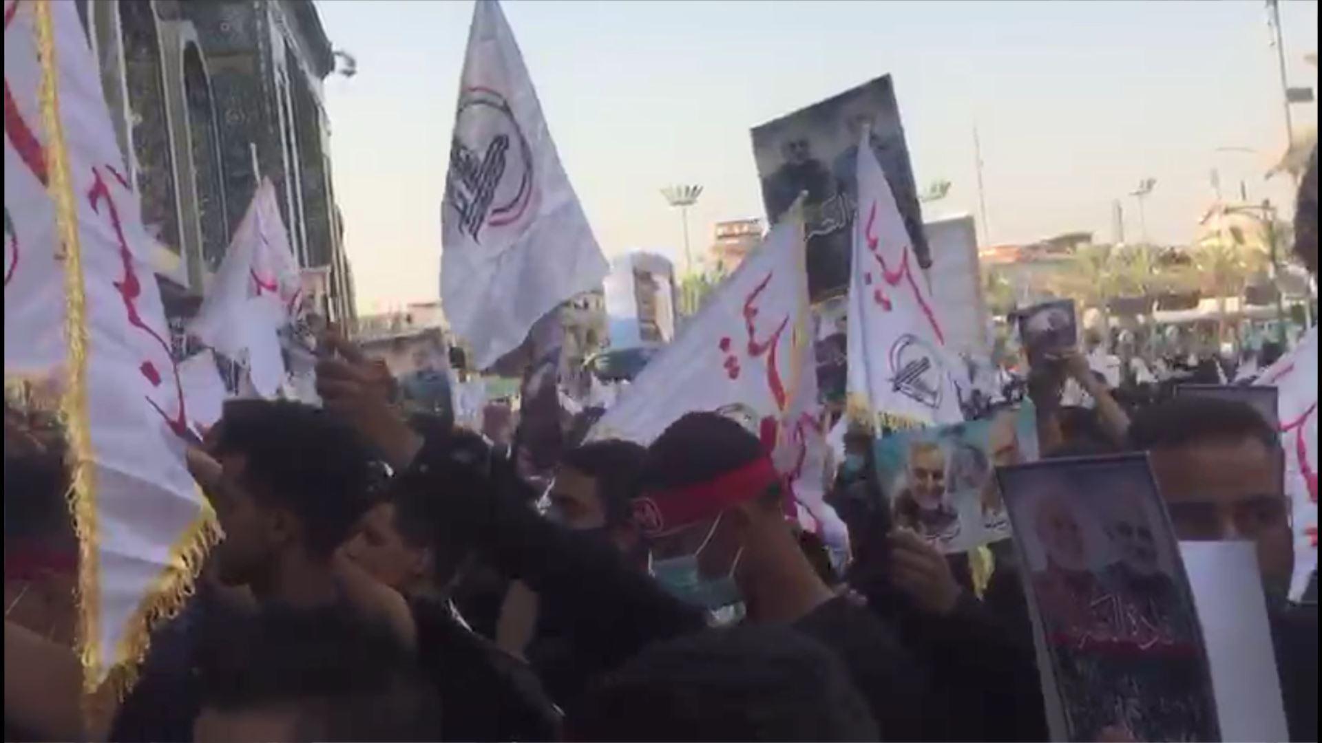 راهپیمایی تجدید عهد مردم عراق با شهید سلیمانی و ابومهدی در بینالحرمین
