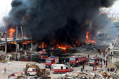 آتش سوزی عظیم در بندر بیروت