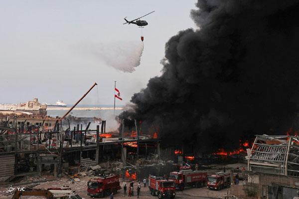 وقوع آتش سوزی گسترده در بندر بیروت