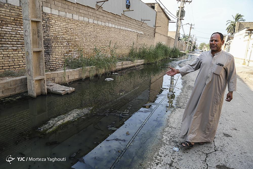 وضعیت نامطلوب فاضلاب در یکی از مناطق اهواز