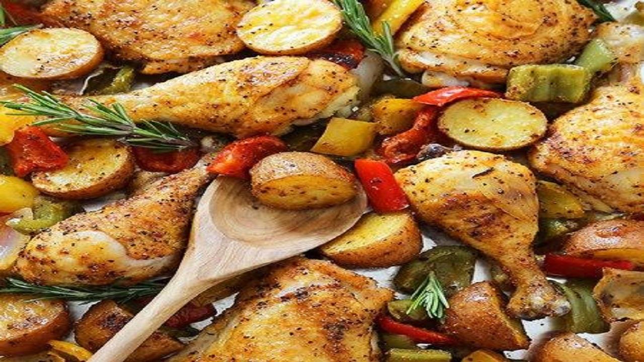 طرز تهیه مرغ و سبزیجات تنوری