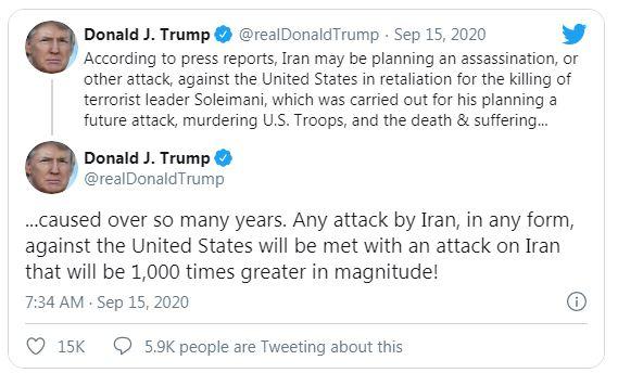 گزافهگویی جدید ترامپ: حملات ایران علیه ما با واکنشی فراتر از هزار برابر پاسخ داده میشود