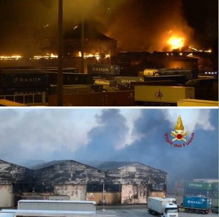 آتشسوزی و انفجار در بندری در شمال ایتالیا