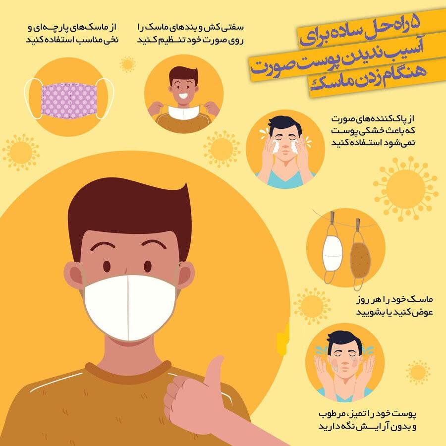 ۵ راهحل ساده برای آسیب ندیدن پوست صورت هنگام زدن ماسک + اینفوگرافیک