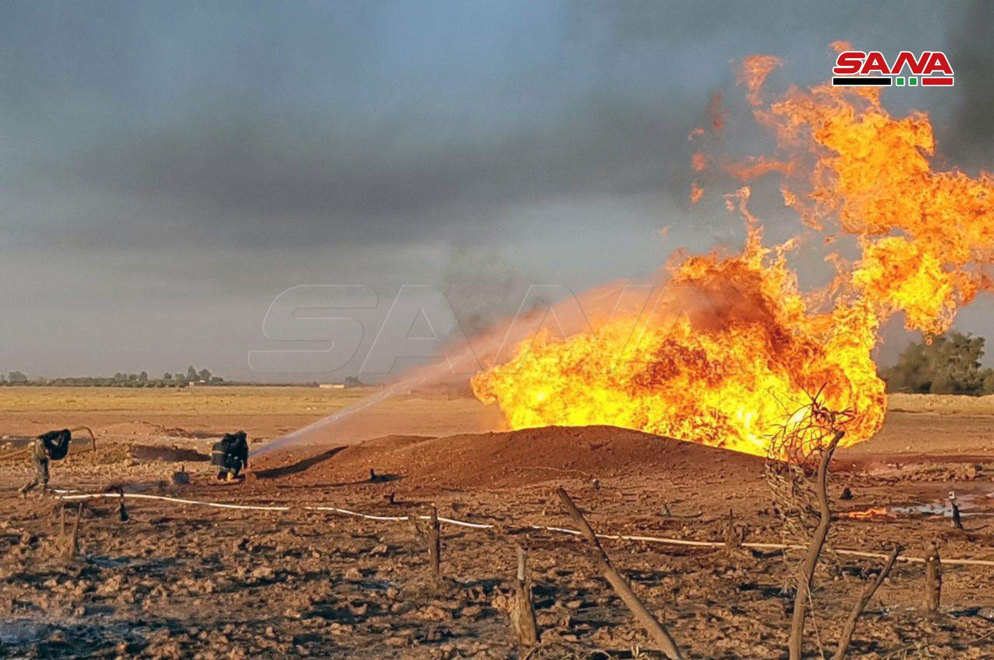 وقوع انفجار در خط لوله گاز در دمشق/ برق کل کشور سوریه قطع شد+ تصاویر