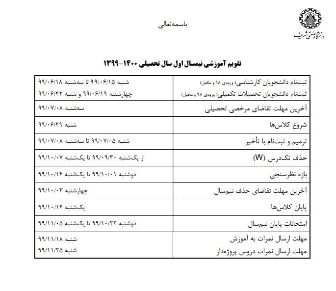زمان آغاز نیم سال تحصیلی آینده در دانشگاه صنعتی شریف تعیین شد