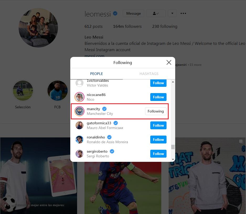 مسی حساب کاربری منچستر سیتی را فالو کرد