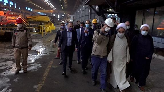 باشگاه خبرنگاران - بازدید آیت الله فلاحتی از کارخانه فولاد گیلان