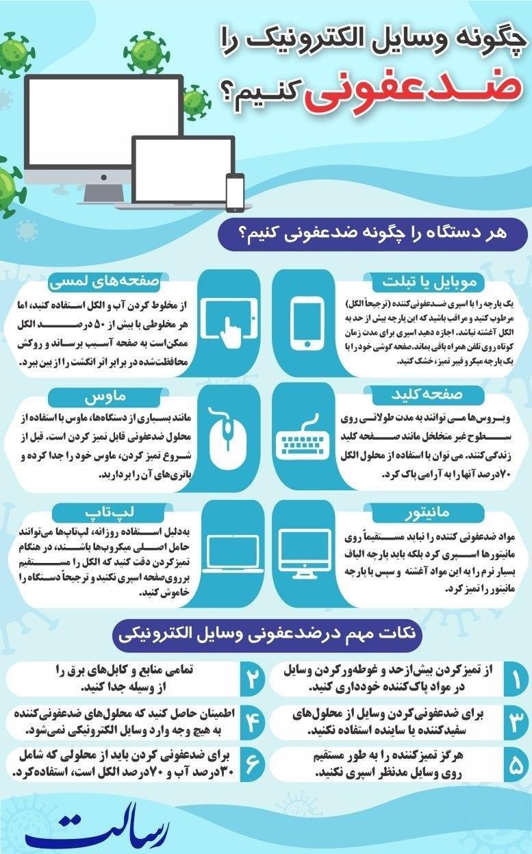 روشهایی برای ضدعفونی کردن وسایل الکترونیکی