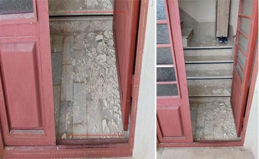 فروریختن بخشهایی از دیوار راهرودر یک منزل مسکونی