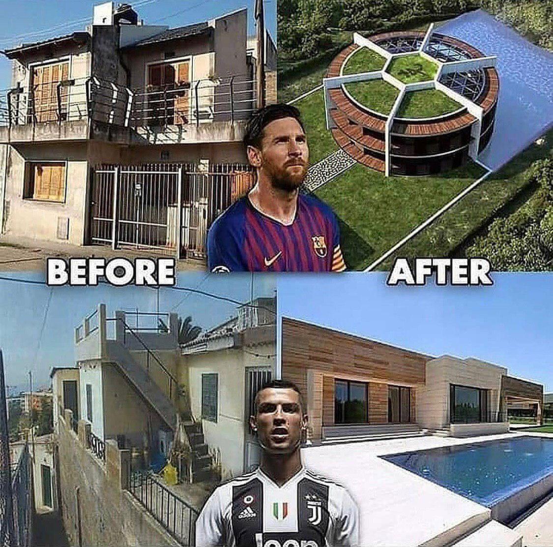 تفاوت زندگی رونالدو و مسی پس از ثروتمند شدن + عکس