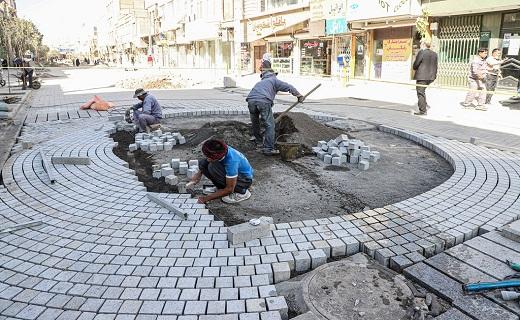 عملیات اجرایی پیاده راه سازی خیابان انقلاب قم +تصاویر
