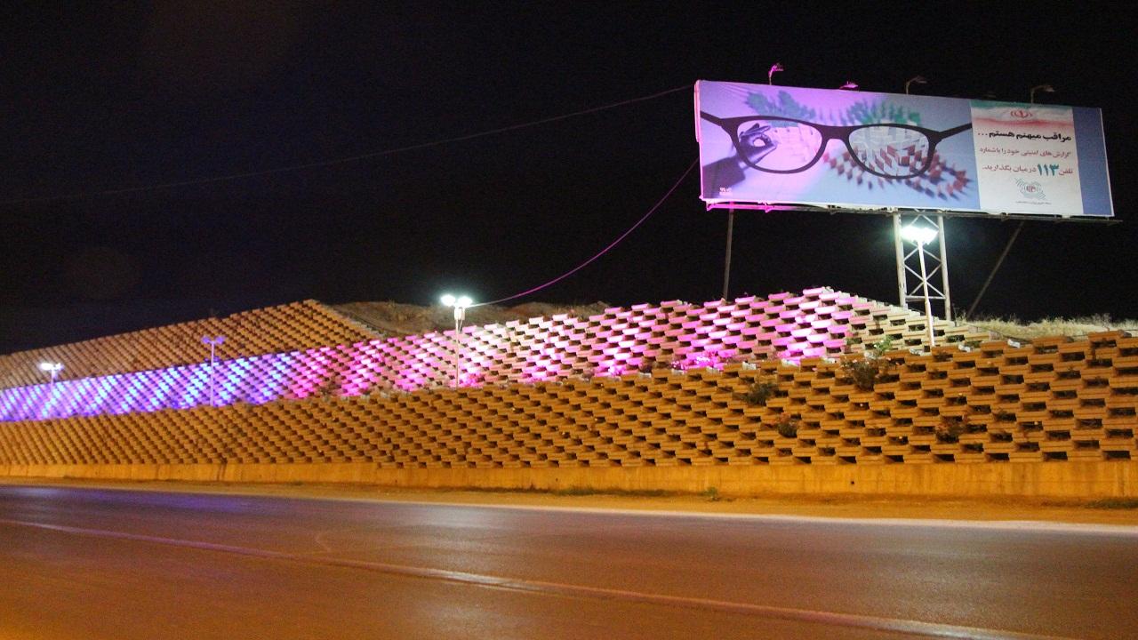 نورپردازی گلفوژهای ورودی شهرکرد