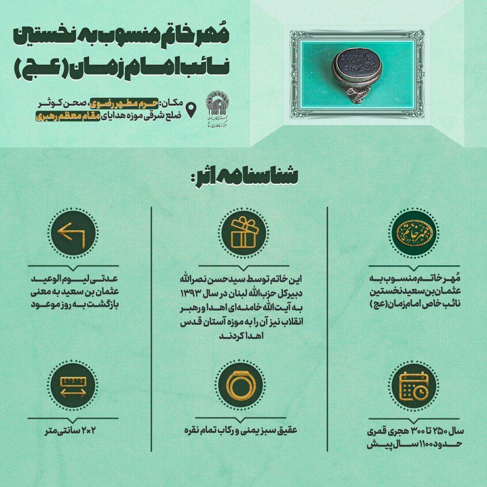 اهدا مهر خاتم منسوب به نخستین نائب امام زمان (عج) به رهبر معظم انقلاب