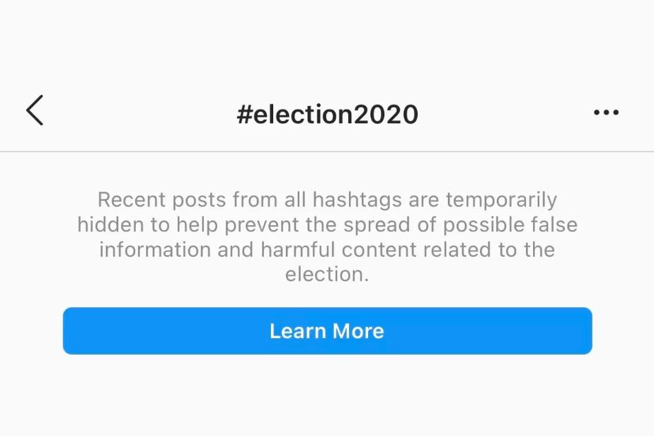 حذف برگه اخیر از صفحه هشتگ اینستاگرام پیش از انتخابات آمریکا