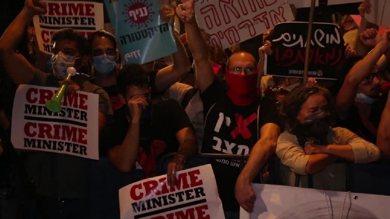 تظاهرات زمستانی صهیونیستها علیه نتانیاهو برای بیستودومین هفته متوالی