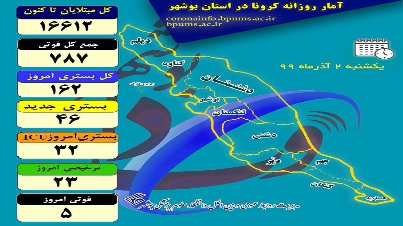۱۶۲ بیمار در بخشهای کرونایی استان بوشهر بستری هستند