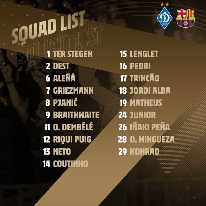 غیبت عجیب مسی در لیست بارسلونا مقابل دیناموکیف