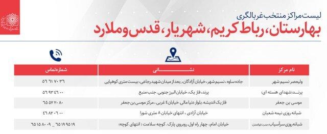 لیست مراکز غربالگری کووید 19 در تهران  2