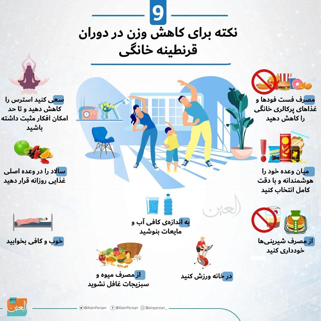 ۹ نکته برای کاهش وزن در دوران قرنطینه خانگی