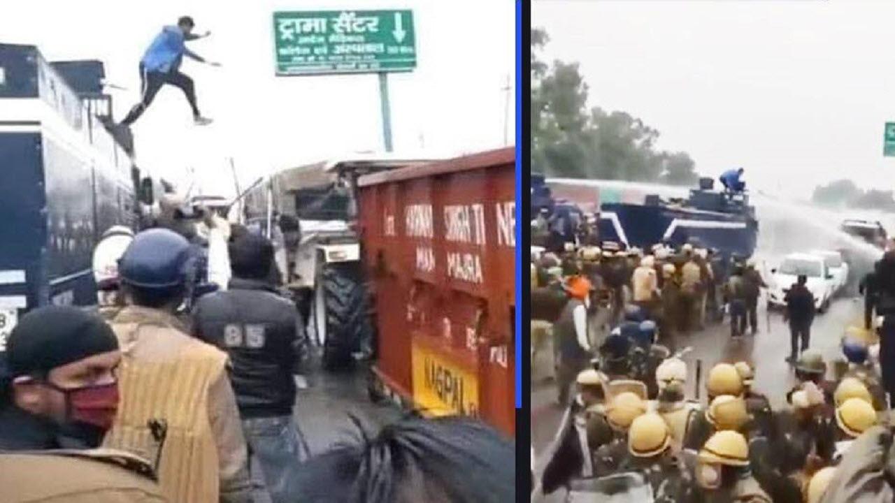 فیلم هندی کشاورز با پرش به روی ماشین آبپاش پلیس!