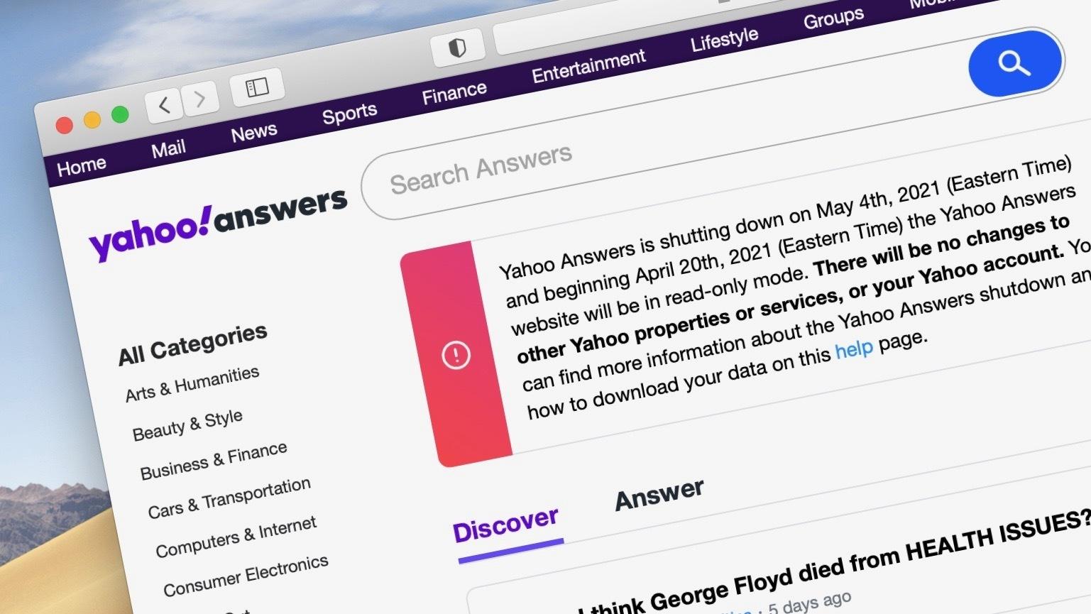 Yahoo Answers در ماه می برای همیشه متوقف می شود