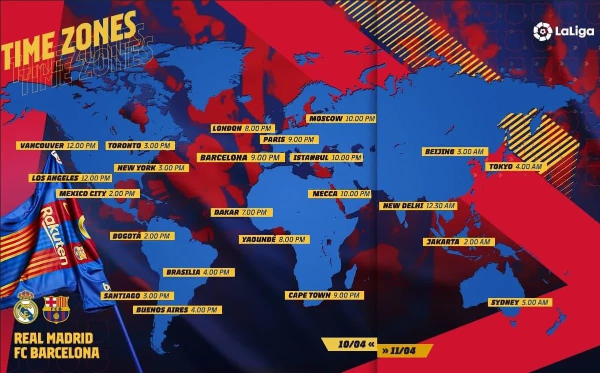 ساعت دیدار بارسلونا - رئال مادرید در نقاط مختلف جهان