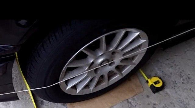 ترازبندی خودرو به کمک ریسمان یا یک رشته سیم