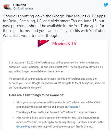 گوگل در حال حذف برنامه های فیلم و تلویزیون خود از هر Roku و تلویزیون های هوشمند است