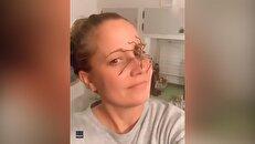 راه رفتن یک عنکبوت بزرگ روی صورت زن استرالیایی + فیلم